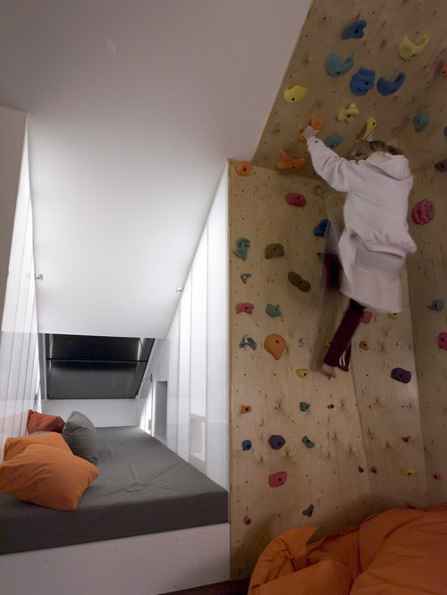 Inspiration For A Small Eclectic Home Climbing Wall Remodel In Austin With  White Walls