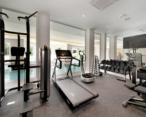 design a home gym. Modern multi use home gym in Surrey with grey walls and floors  Home Gym Design Ideas Renovations Photos