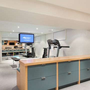 Contemporary Basement Home Gym and Office