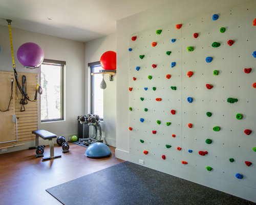 Inspiration For A Contemporary Brown Floor Home Climbing Wall Remodel In  Jacksonville With White Walls