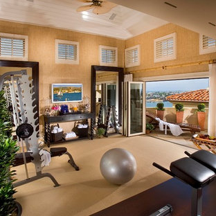75 most popular home gym with carpet and beige floors