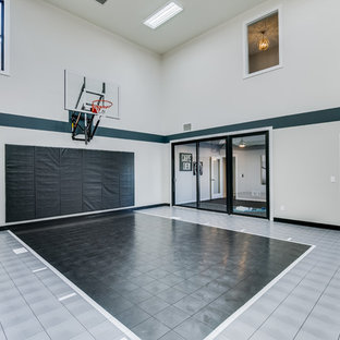 Example of a transitional multicolored floor indoor sport court design in Minneapolis with multicolored walls