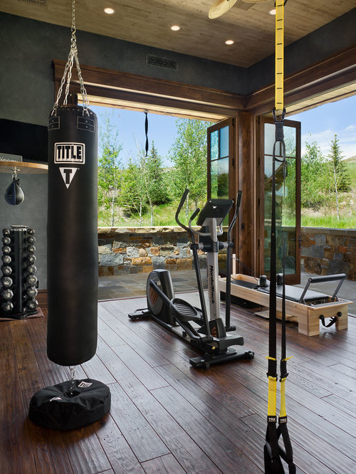 Home Gym Design: Rustic Home Gym Design Ideas & Remodel Pictures