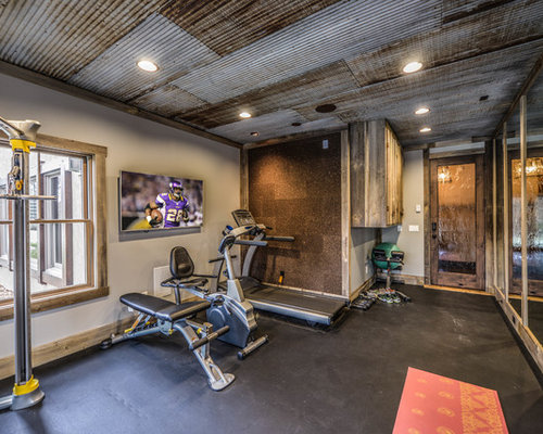 Mid sized rustic home gym design ideas pictures remodel