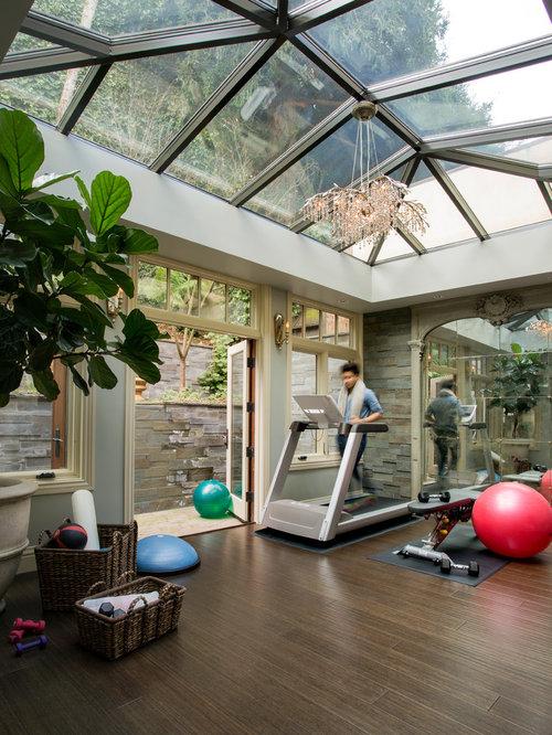eklektischer fitnessraum ideen f r ihr home gym houzz. Black Bedroom Furniture Sets. Home Design Ideas