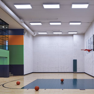 Inspiration for a large contemporary beige floor indoor sport court remodel in Minneapolis with gray walls