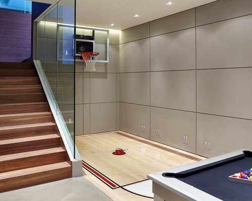 Indoor basketball court houzz for How much would an indoor basketball court cost