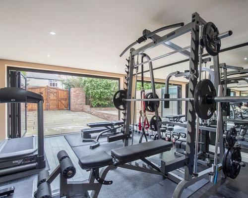 Contemporary Home Weight Room Design Ideas Renovations Photos - Weight room design