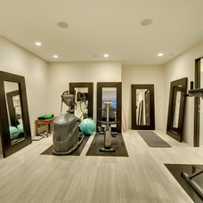 contemporary home gym Fitness room lower level