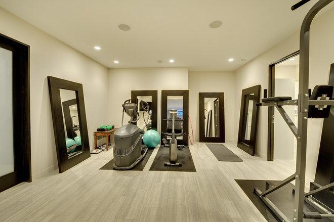 Contemporary Home Gym Fitness room lower level