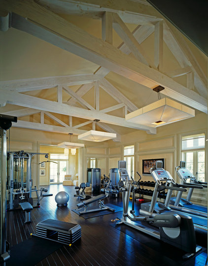 traditional home gym by Finton Construction