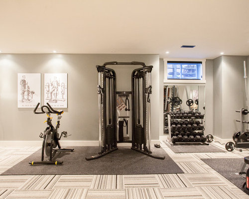 Carpet Tile Design Ideas image of peel and stick carpet tiles canada Contemporary Multiuse Home Gym Idea With Gray Walls And Carpet