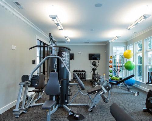 salle de sport avec moquette et un mur gris photos et id es d co de salles de sport. Black Bedroom Furniture Sets. Home Design Ideas