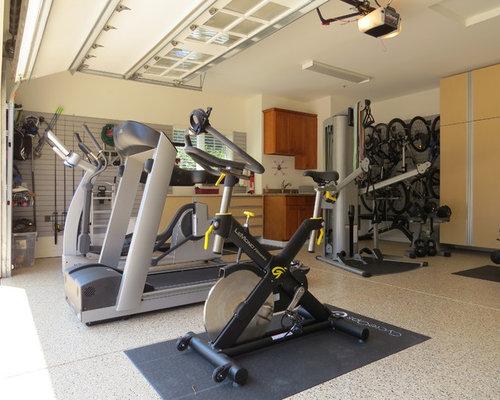Home gym storage design ideas renovations photos