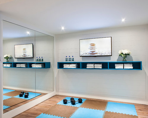 example of a small trendy home yoga studio design in toronto with white walls - Home Yoga Studio Design Ideas