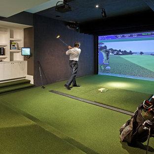 Idee per un campo sportivo coperto design di medie dimensioni con pareti marroni, moquette e pavimento verde