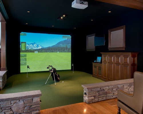 best golf simulation room design ideas remodel pictures houzz