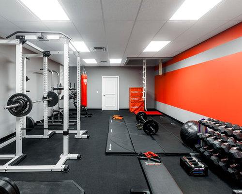 Modern Home Weight Room With Gray Walls Ideas Design Photos Houzz - Weight room design