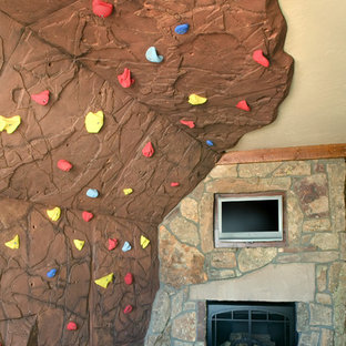 Country home climbing wall in Denver.