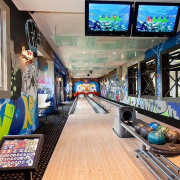 Home Bowling Alley for New York Yankee Baseball Player's Recreation Room