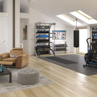 Photo of a midcentury home gym in Los Angeles.