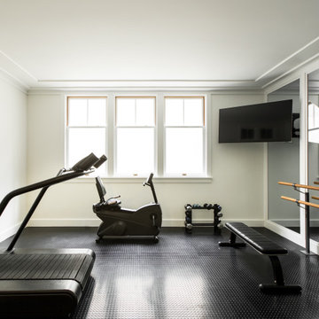 Home Gym of a historic Craftsman residence in Santa Monica, CA