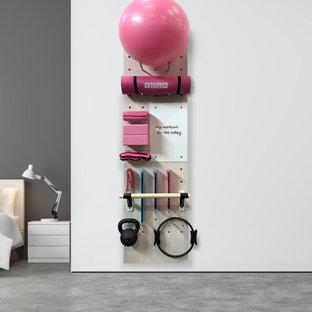 Kleiner Moderner Yogaraum mit weißer Wandfarbe, Betonboden und grauem Boden in Washington, D.C.