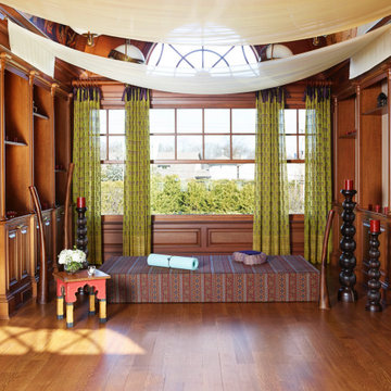 Home Library Turned India Inspired Yoga Studio