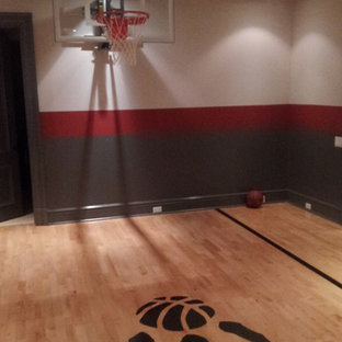 Indoor sport court - mid-sized modern light wood floor indoor sport court idea in Toronto with multicolored walls