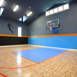 Indoor Basketball Court Transitional Home Gym Salt Lake City By Walker Home Design