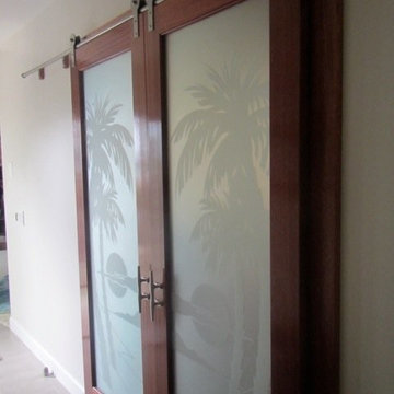 Interior Glass Doors - Palm Sunset 100% Private