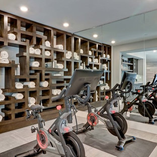 Inspiration for a transitional gray floor multiuse home gym remodel in Orange County with gray walls