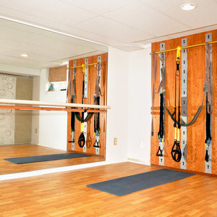 Example of a trendy home gym design in Cleveland
