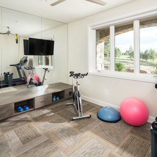 Example of a transitional carpeted and brown floor multiuse home gym design in Denver with beige walls