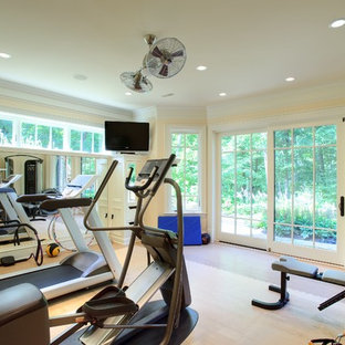 Transitional beige floor multiuse home gym photo in Chicago with beige walls