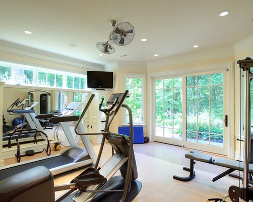 Transitional Brown Floor Multiuse Home Gym Photo In Chicago With Beige Walls