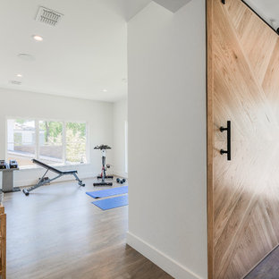 Example Of A Trendy Home Gym Design In Dallas