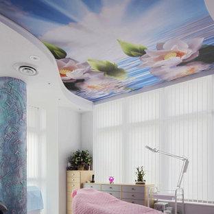 Immagine di una palestra multiuso minimalista di medie dimensioni con pareti bianche e pavimento in gres porcellanato