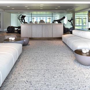 Foto di una grande palestra multiuso contemporanea con pareti bianche, pavimento in gres porcellanato e pavimento grigio