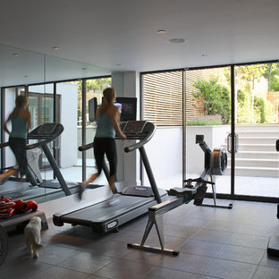 Design ideas for a classic home gym in London.