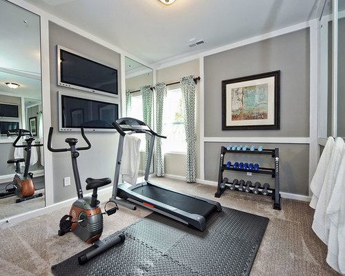 Inspiration For A Transitional Carpeted And Gray Floor Home Weight Room  Remodel In Charlotte With Gray