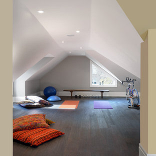 Inspiration for a medium sized traditional home yoga studio in Toronto with grey walls, dark hardwood flooring and brown floors.