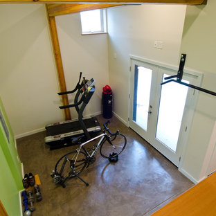 Example of a mid-sized minimalist concrete floor multiuse home gym design in Seattle with green walls