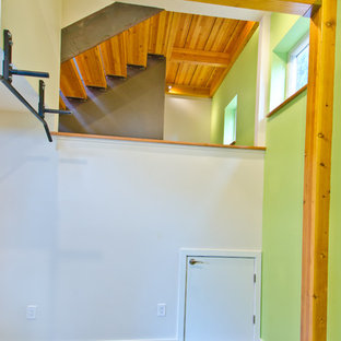 Immagine di una palestra multiuso minimalista di medie dimensioni con pareti verdi e pavimento in cemento