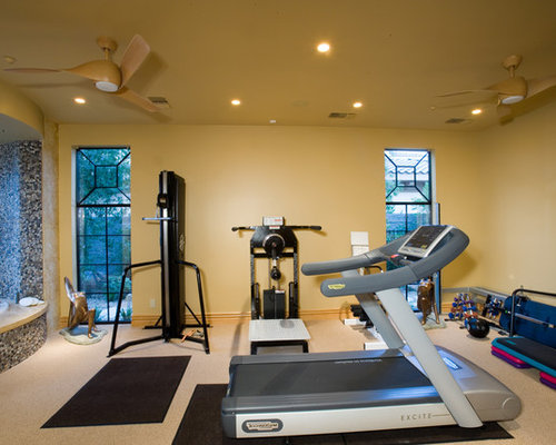 Home gym design ideas renovations photos with yellow walls