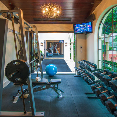 Example of a tuscan home gym design in Miami