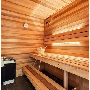 Idee per una palestra in casa nordica di medie dimensioni con pavimento in gres porcellanato