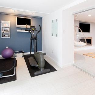 Inspiration för små moderna hemmagym, med vita väggar