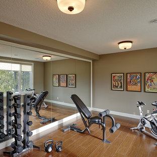 75 most popular brown home gym with cork flooring design