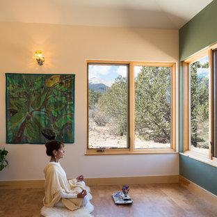 Example of a large minimalist medium tone wood floor home yoga studio design in Denver with green walls